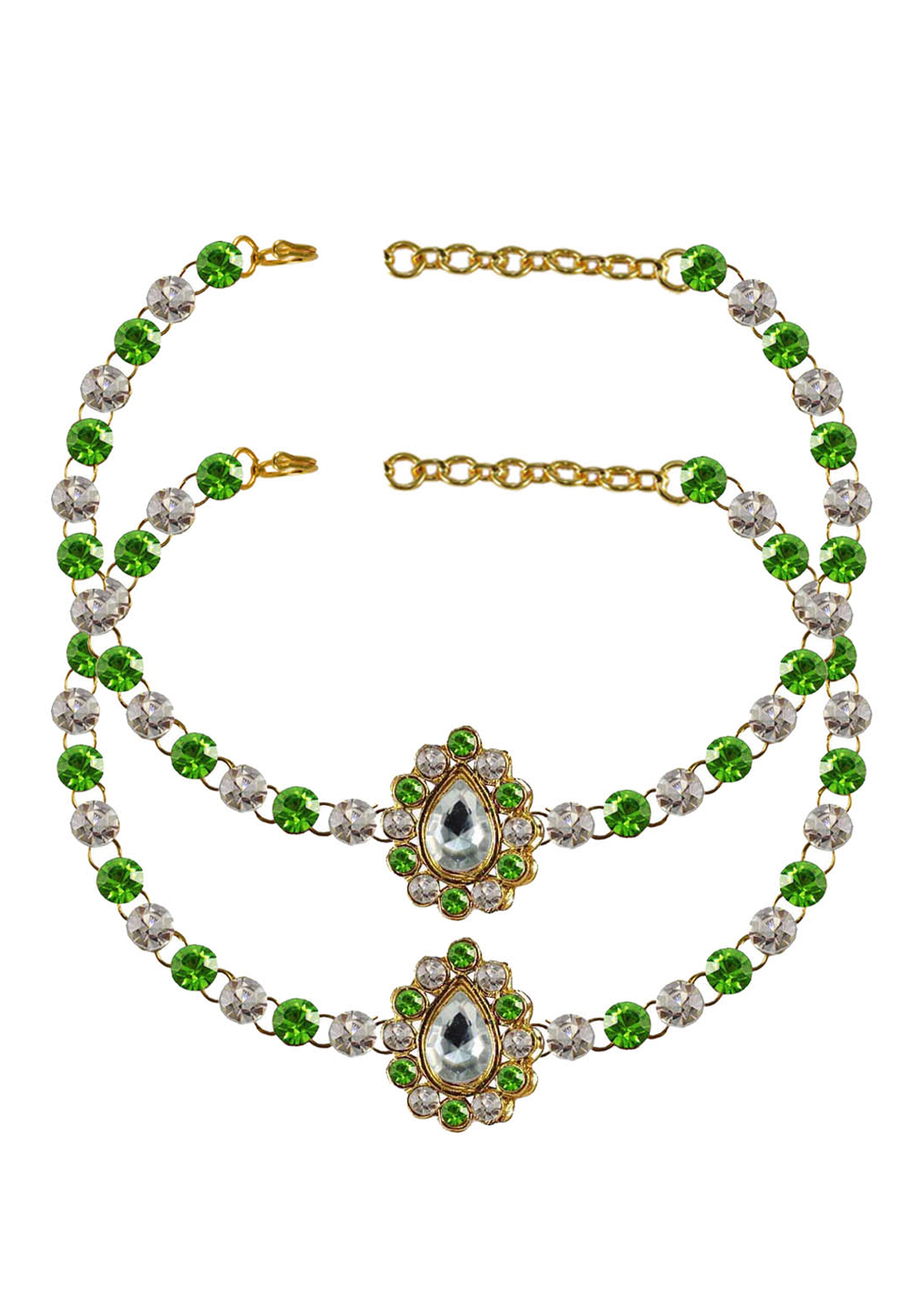 Green Brass Gold Plated Anklets 171361