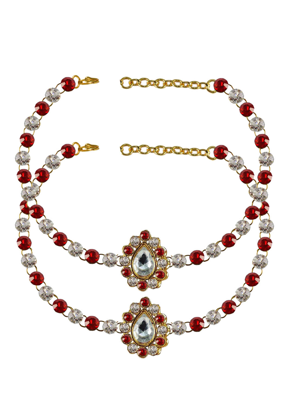Red Brass Gold Plated Anklets 171363