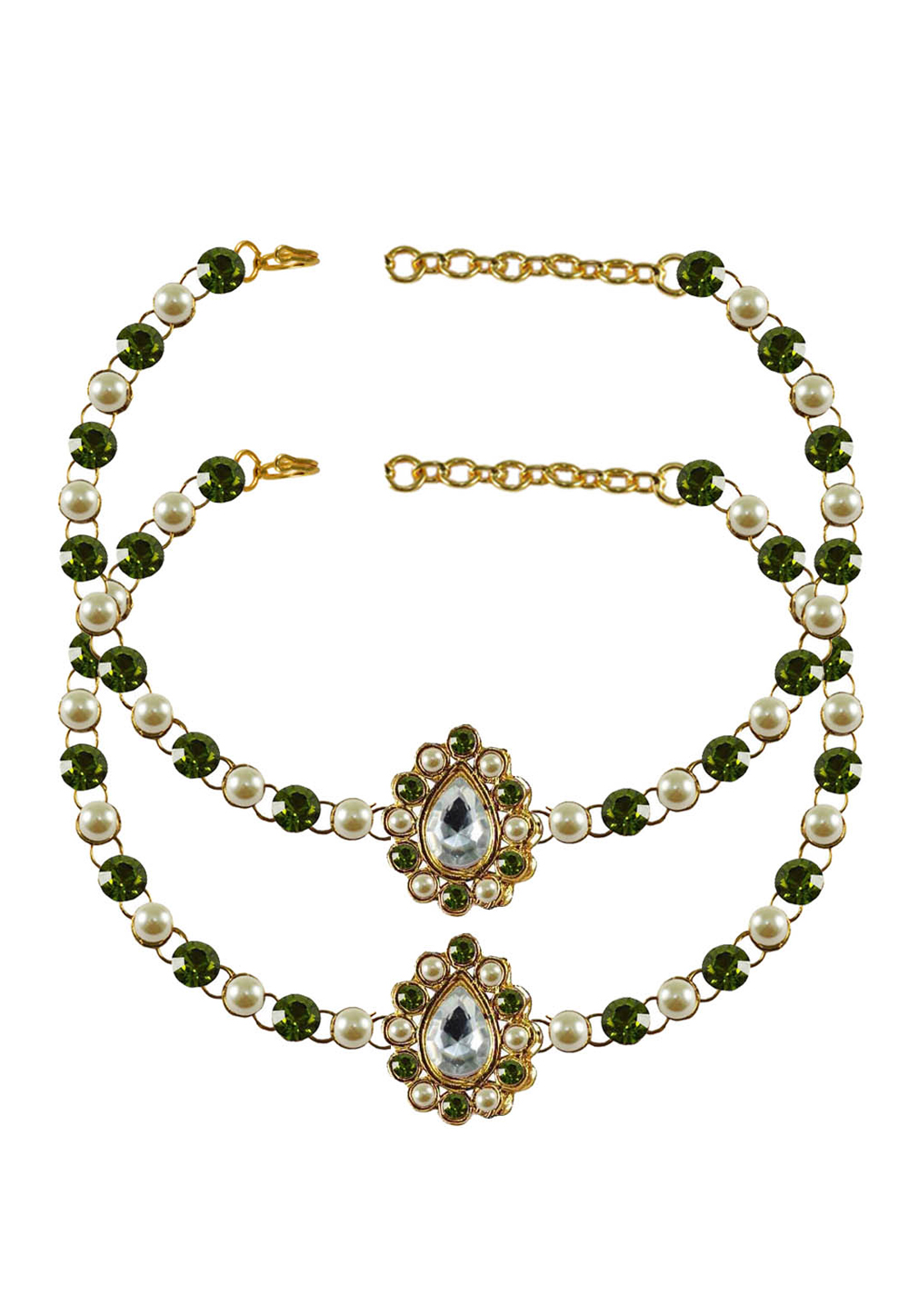 Green Brass Gold Plated Anklets 171364