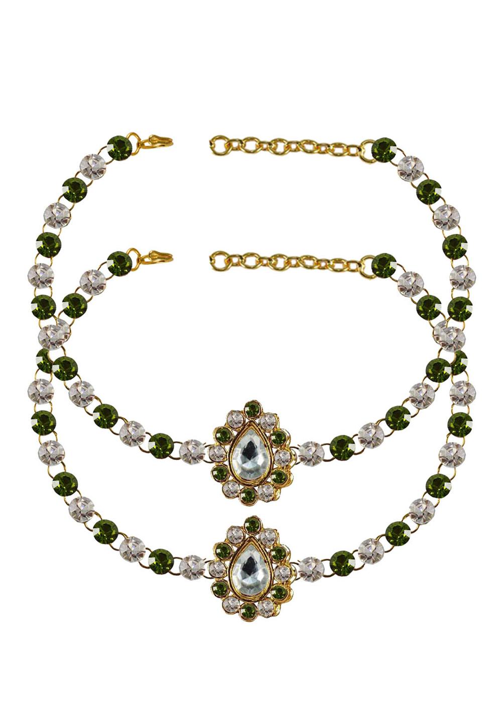 Green Brass Gold Plated Anklets 171365