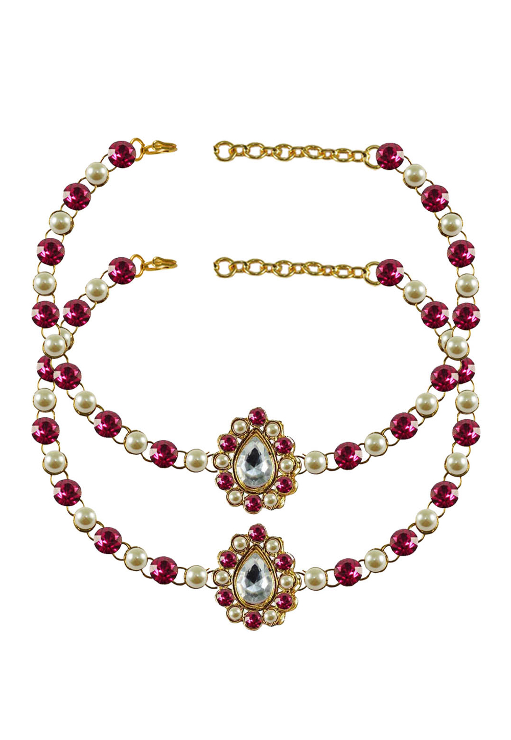 Pink Brass Gold Plated Anklets 171366