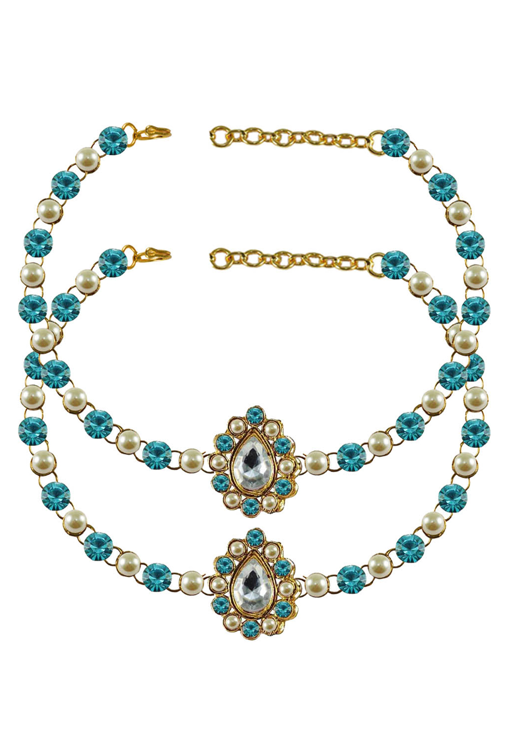 Blue Brass Gold Plated Anklets 171370