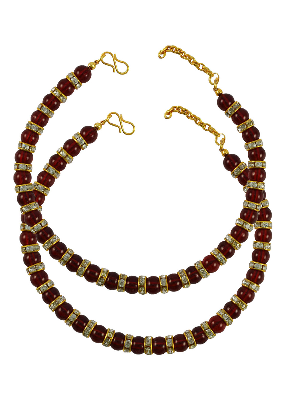 Maroon Brass Gold Plated Anklets 171371