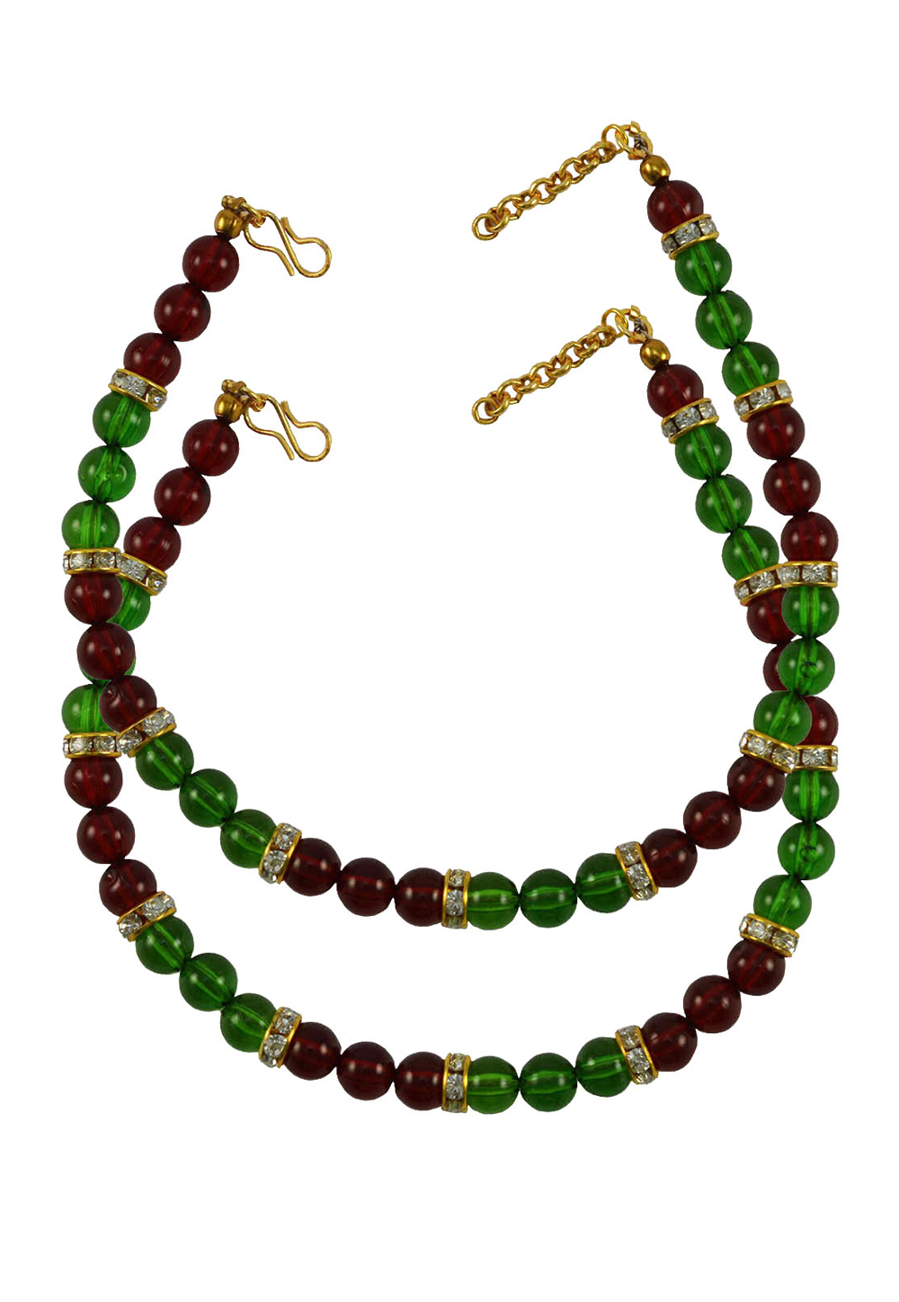 Maroon Brass Gold Plated Anklets 171372