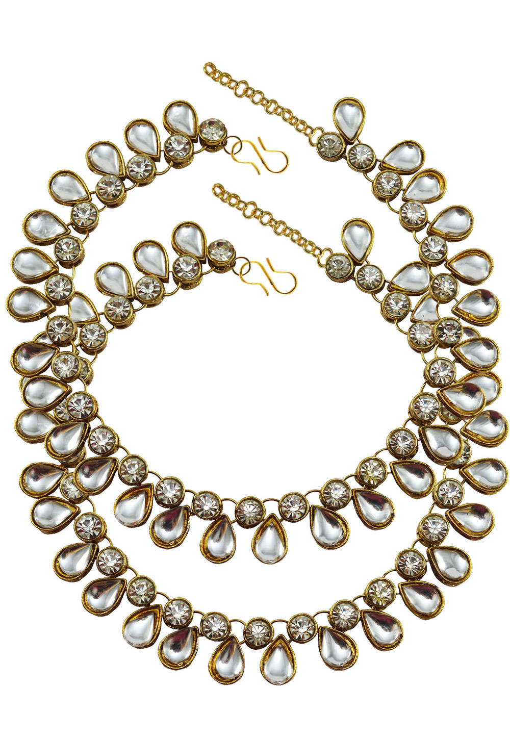 White Brass Gold Plated Anklets 171374
