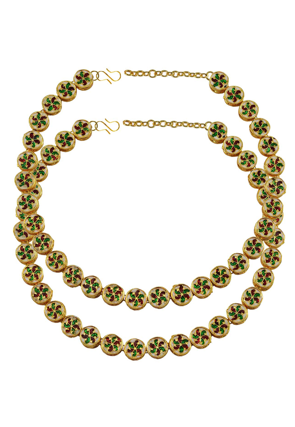 Green Brass Gold Plated Anklets 171376