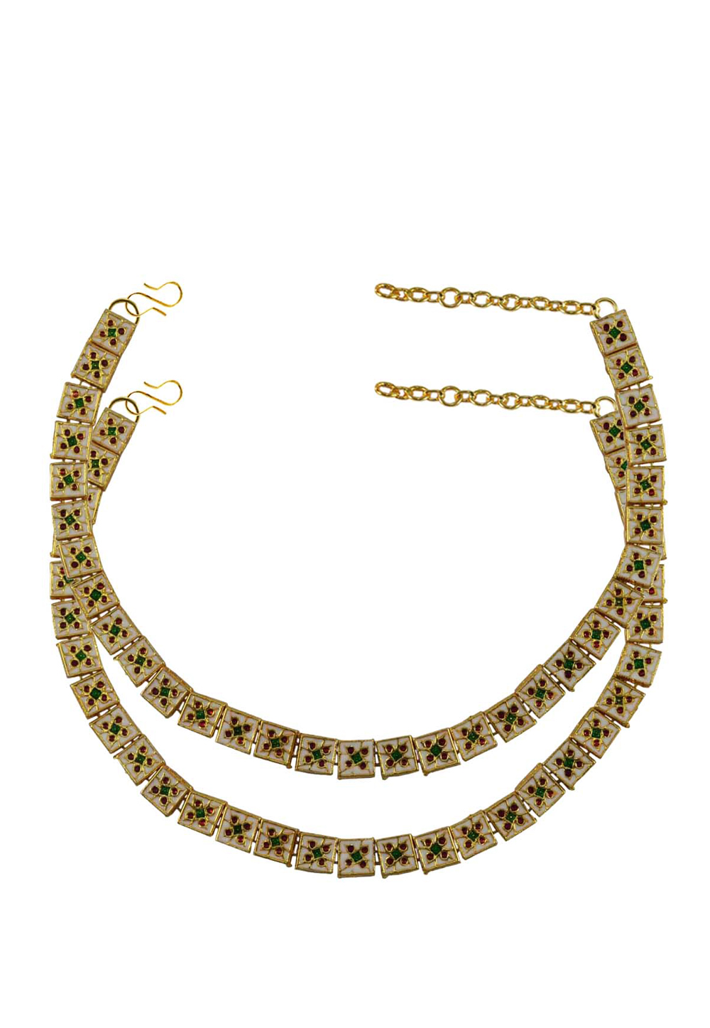 Green Brass Gold Plated Anklets 171378