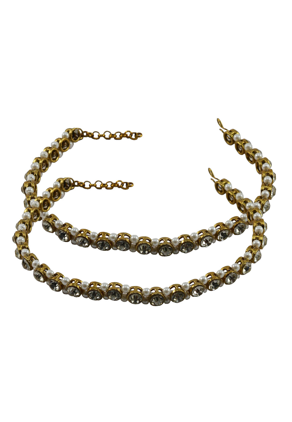 White Brass Gold Plated Anklets 171379