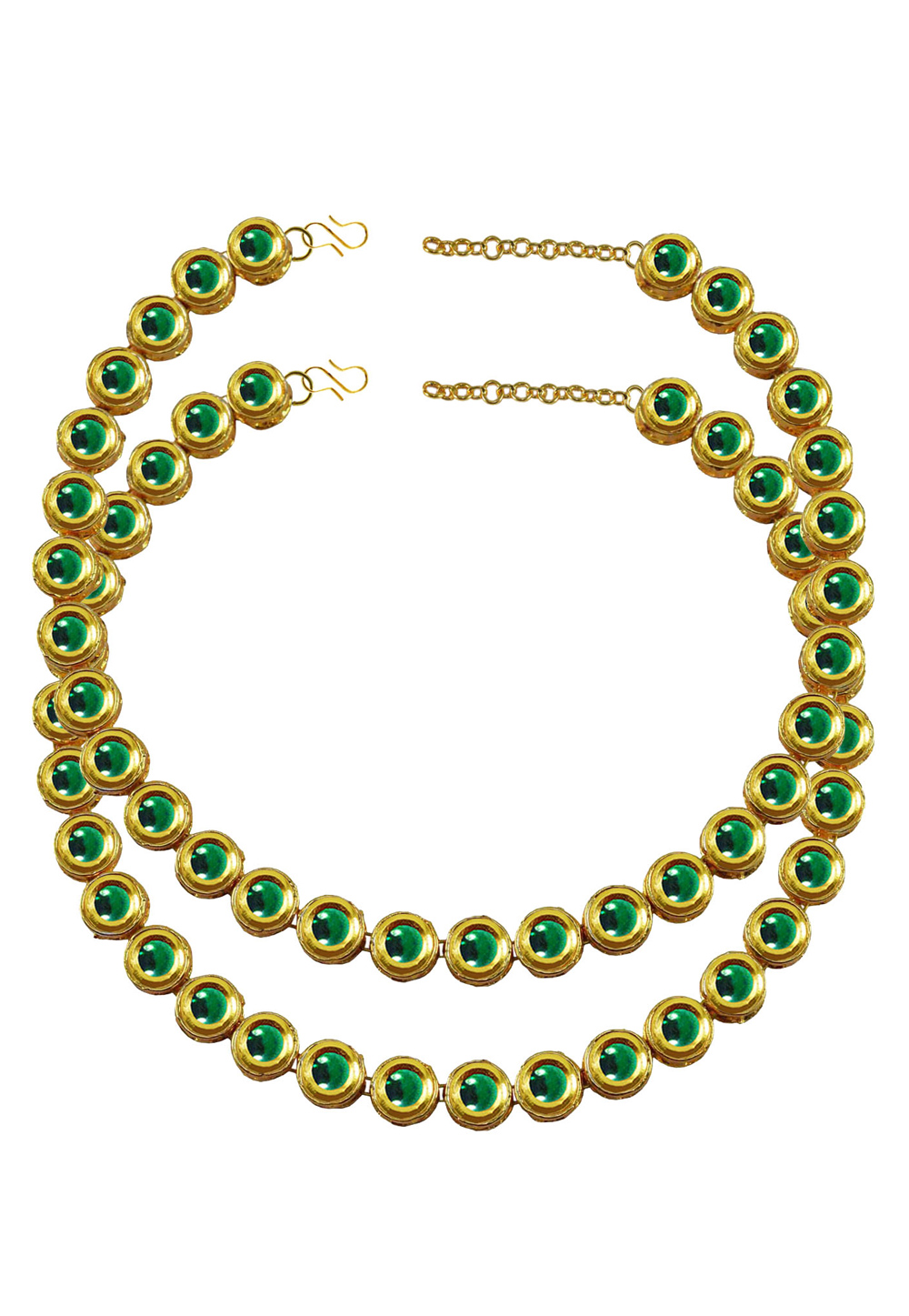 Green Brass Gold Plated Anklets 171380