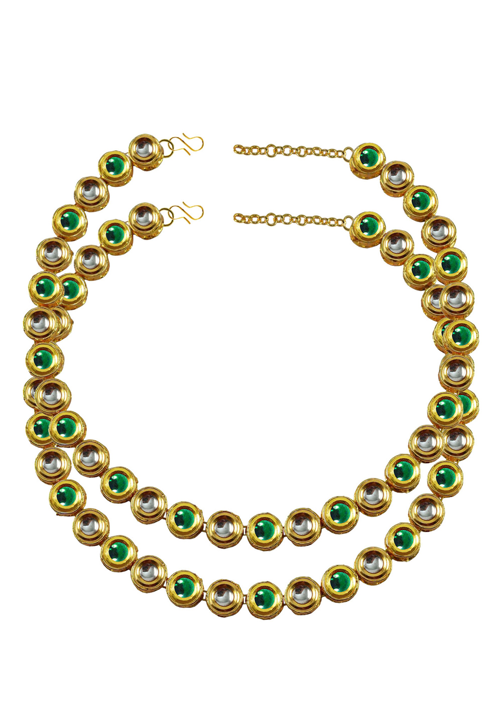 Green Brass Gold Plated Anklets 171383