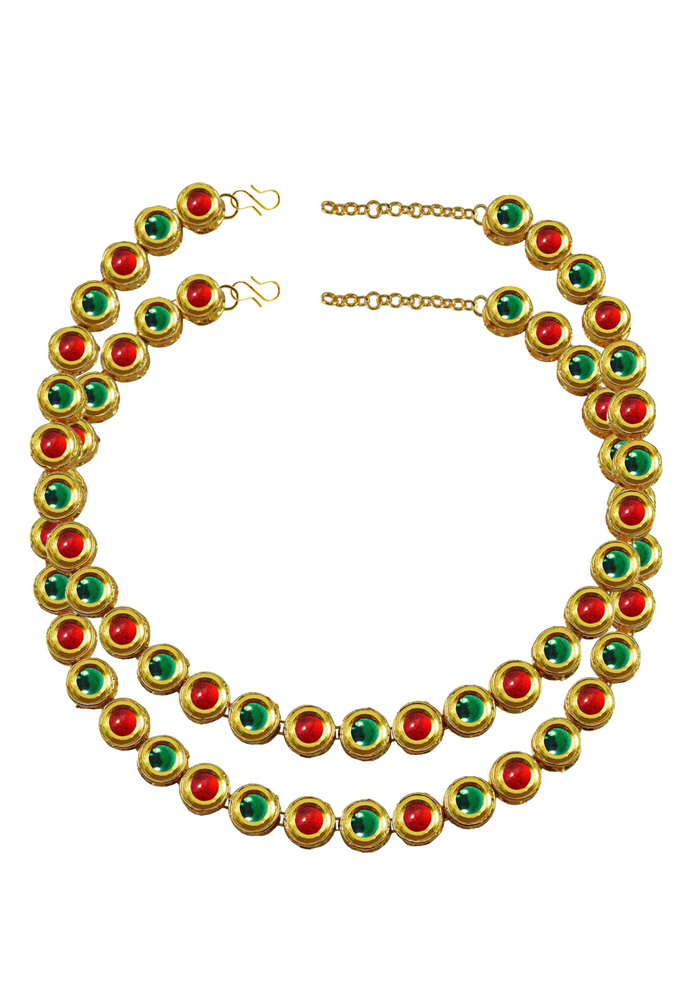Green Brass Gold Plated Anklets 171384