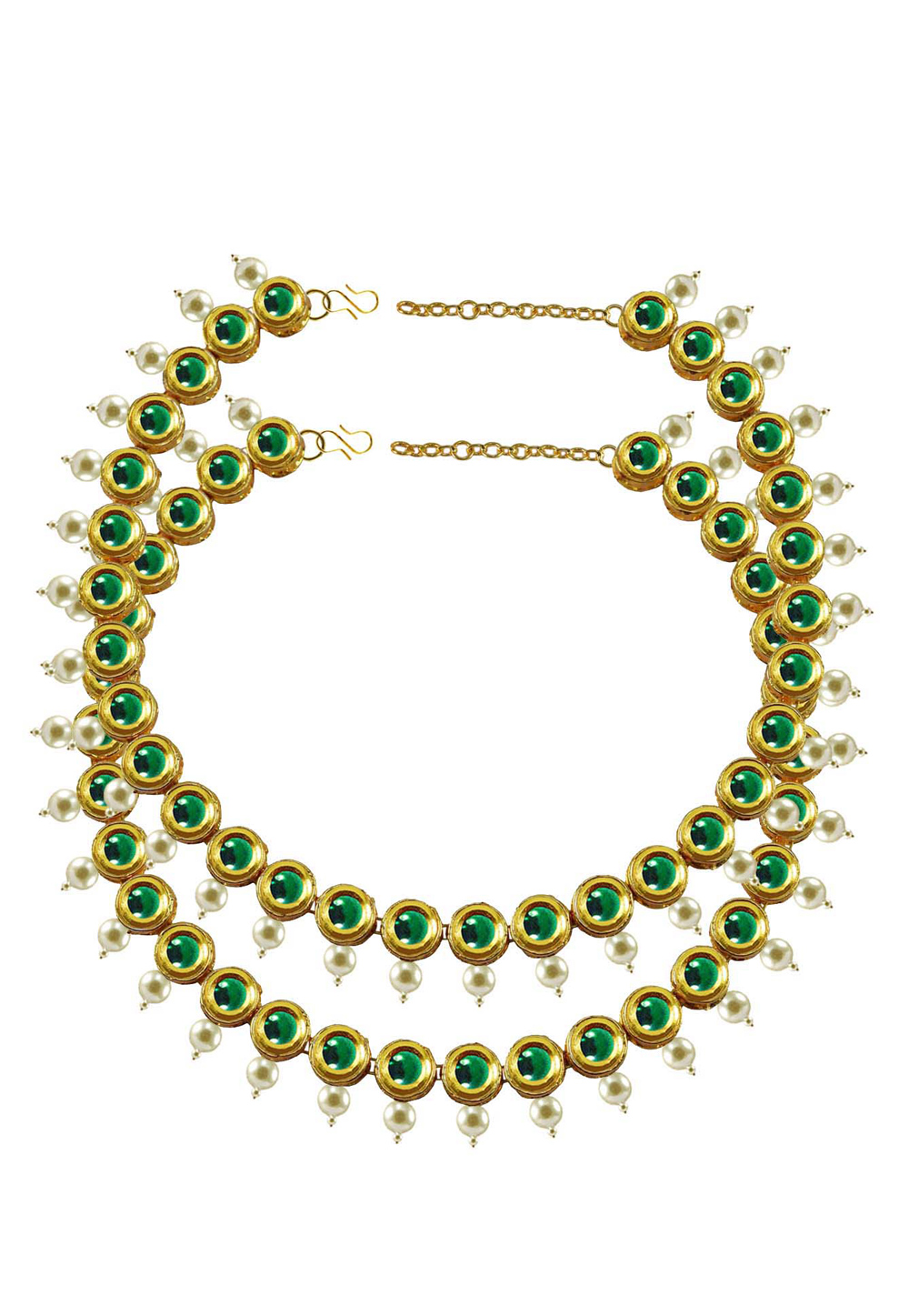 Green Brass Gold Plated Anklets 171385
