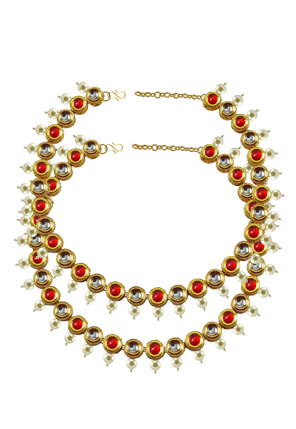 Red Brass Gold Plated Anklets 171387