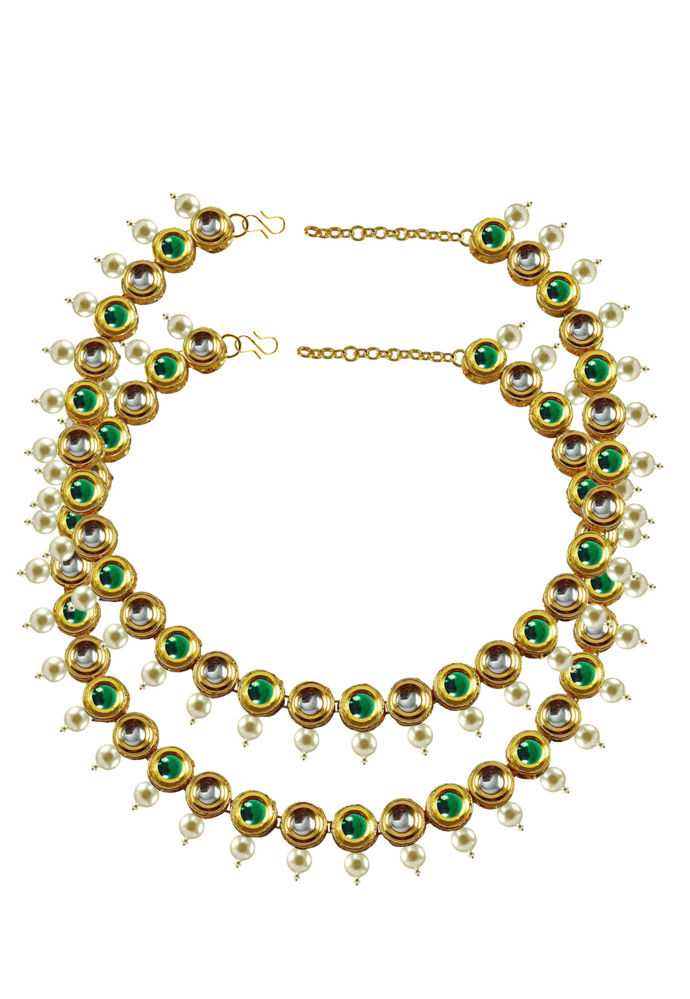 Green Brass Gold Plated Anklets 171388