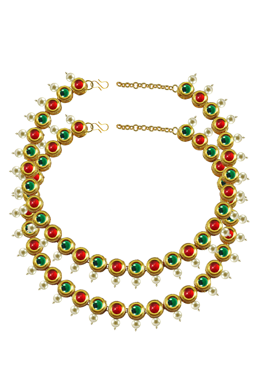 Green Brass Gold Plated Anklets 171389