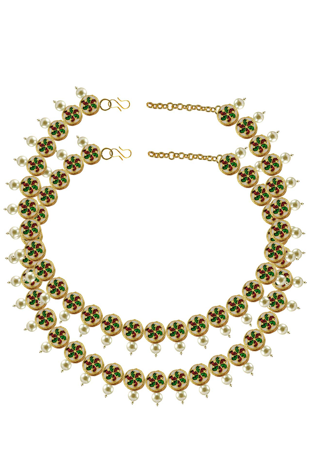 Green Brass Gold Plated Anklets 171391