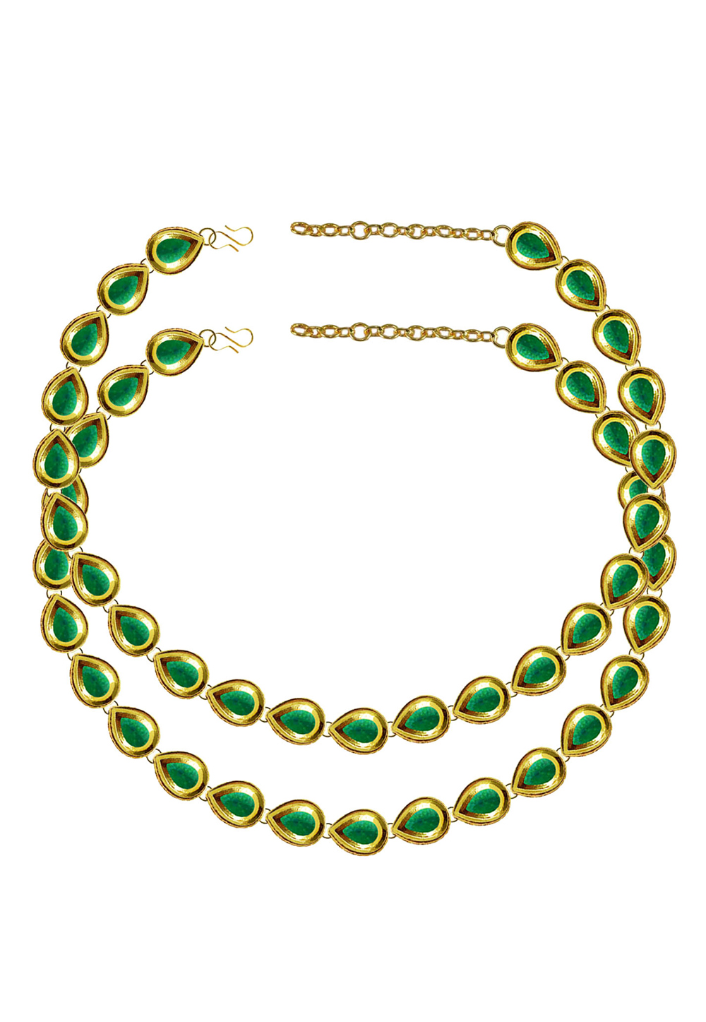 Green Brass Gold Plated Anklets 171394