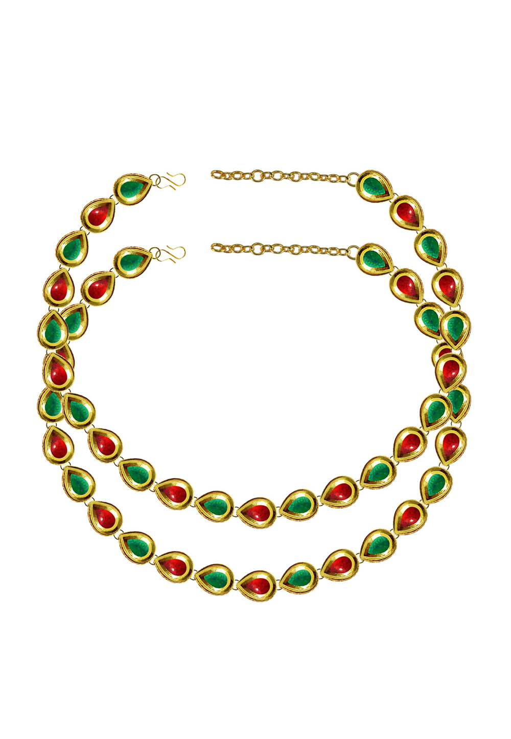 Green Brass Gold Plated Anklets 171395