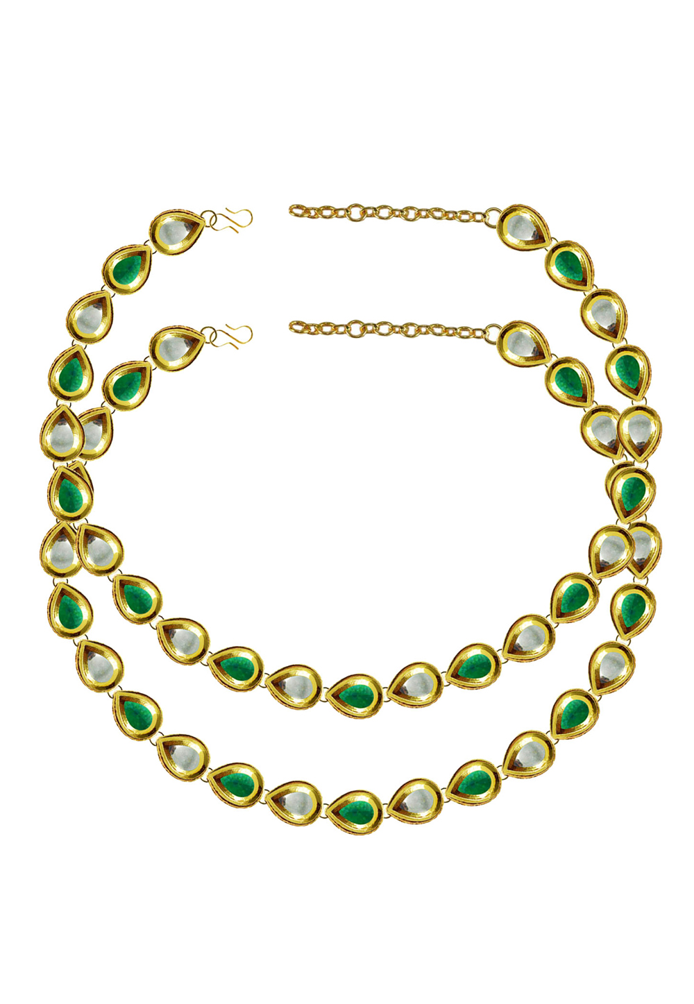 Green Brass Gold Plated Anklets 171397
