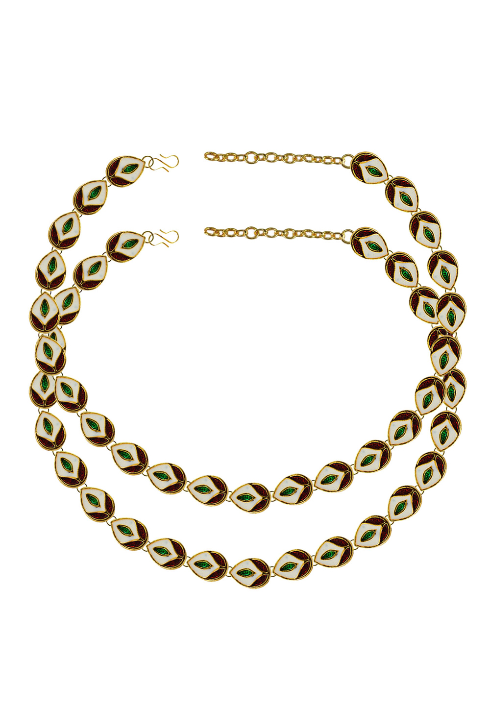 Green Brass Gold Plated Anklets 171398