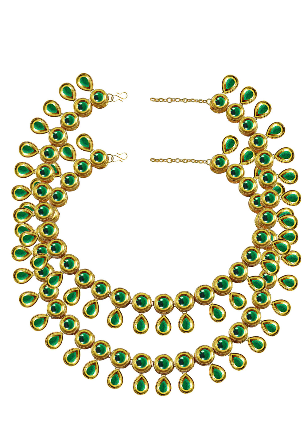 Green Brass Gold Plated Anklets 171401