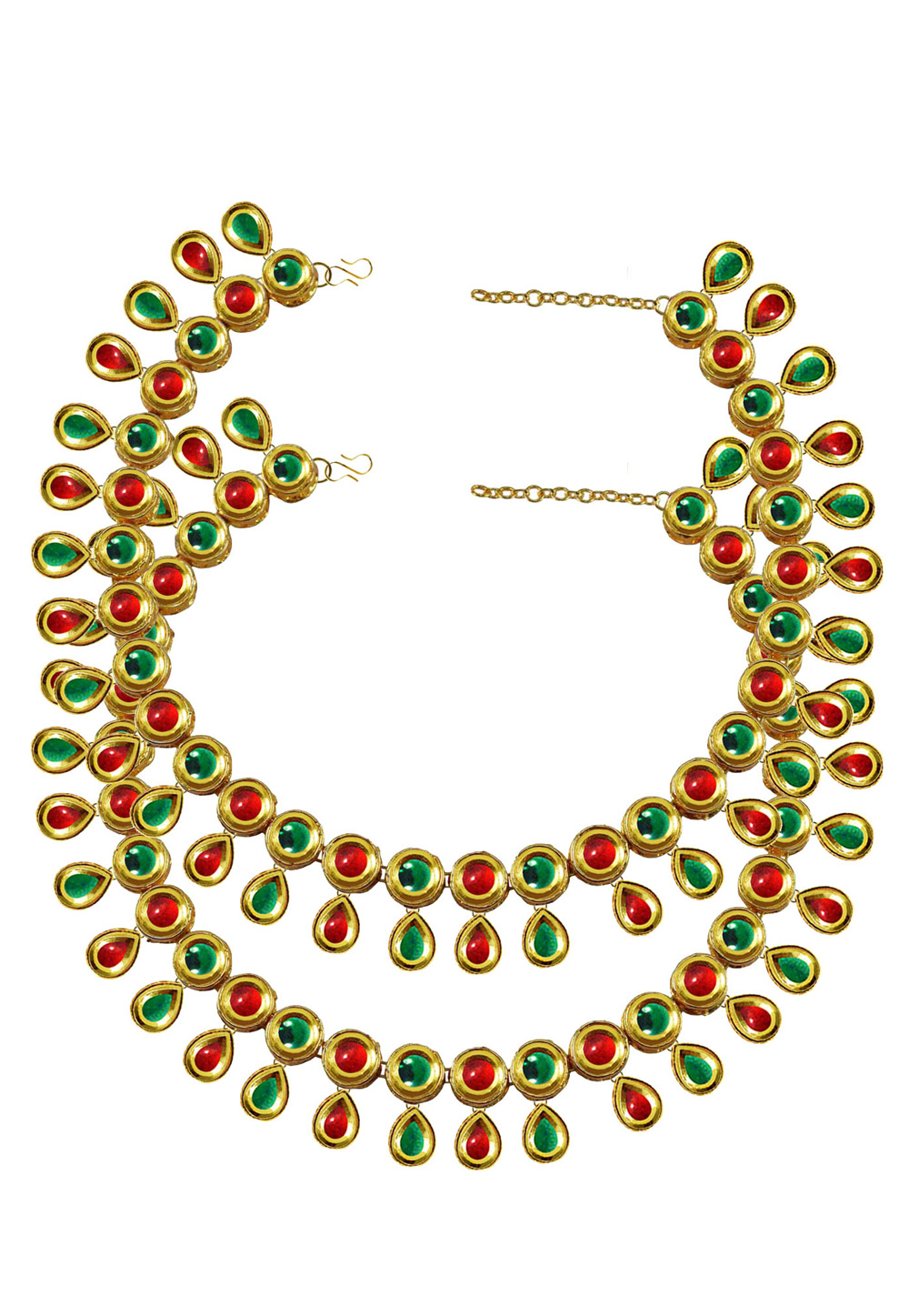 Green Brass Gold Plated Anklets 171402