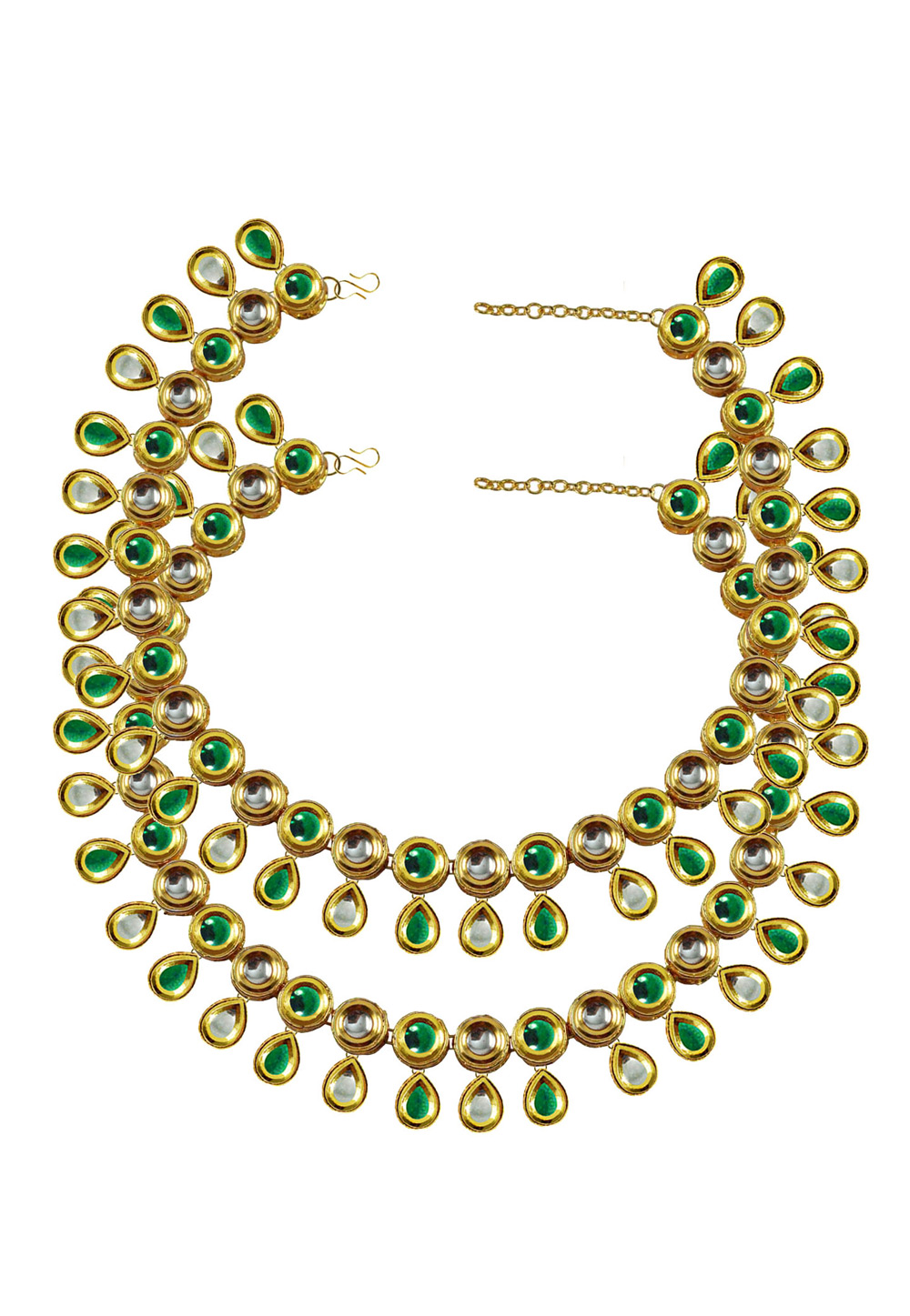 Green Brass Gold Plated Anklets 171403