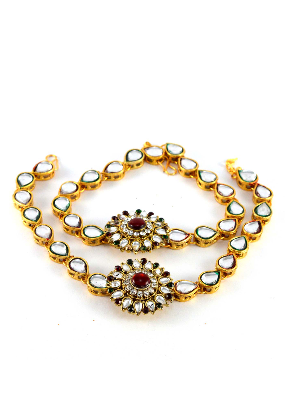 Maroon Brass Gold Plated Anklets 171248