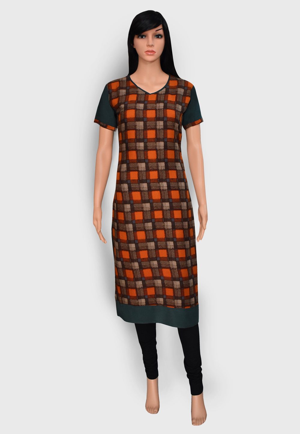Orange Rayon Readymade Printed Kurti 201896
