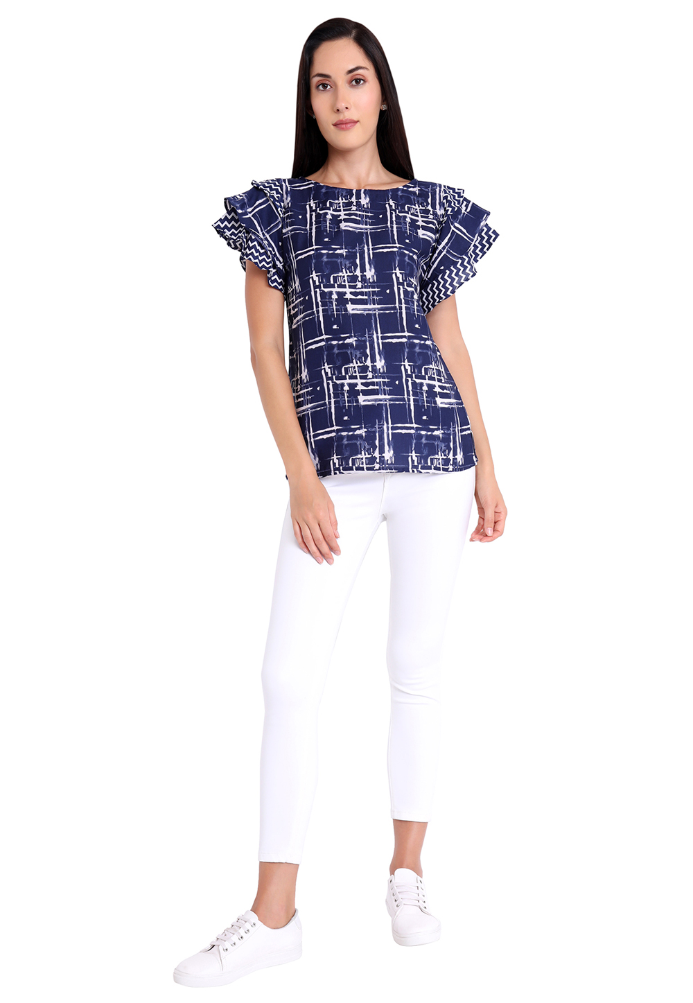 Navy Blue Crepe Readymade Printed Top 188743
