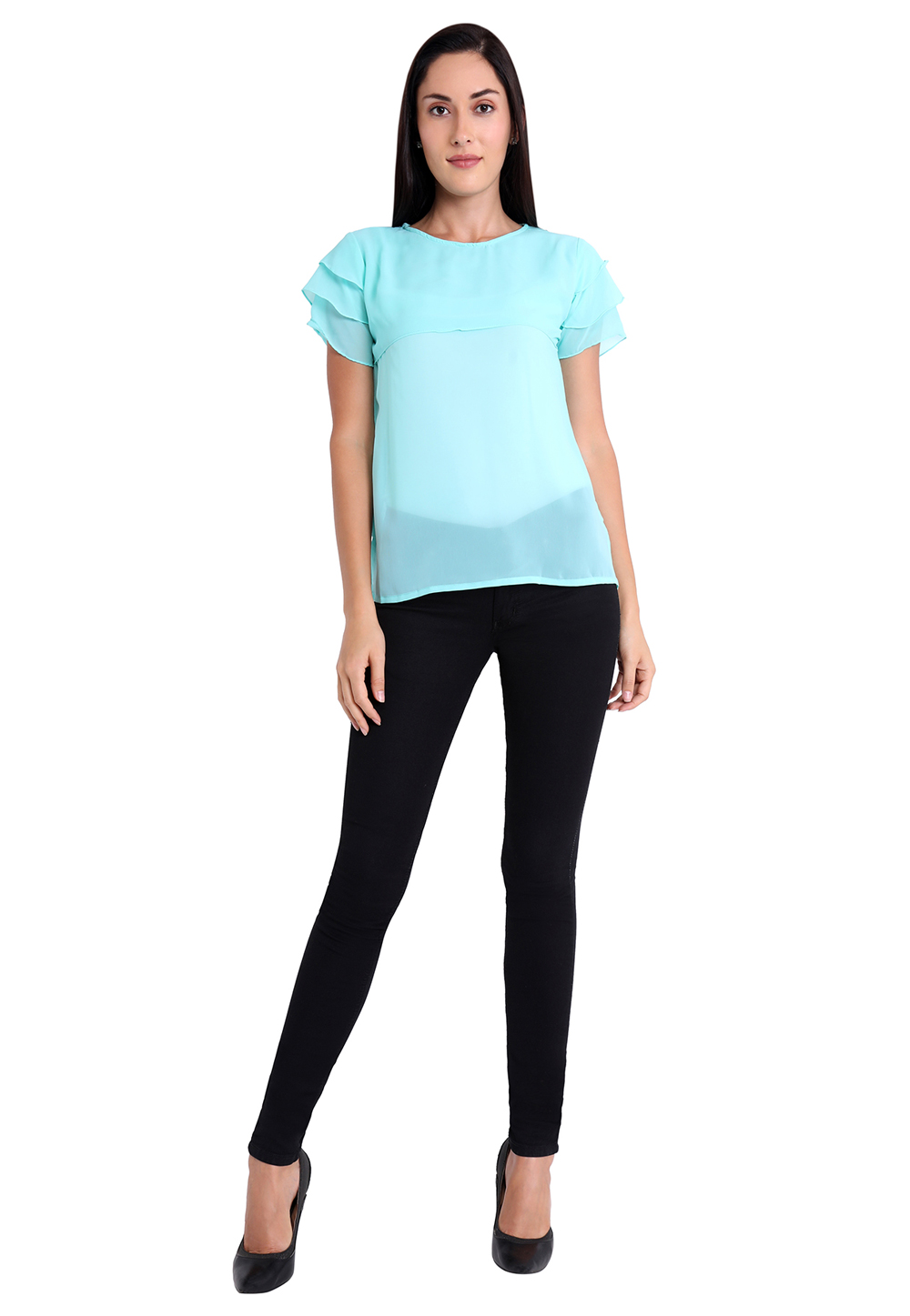Sky Blue Faux Georgette Readymade Top 188745