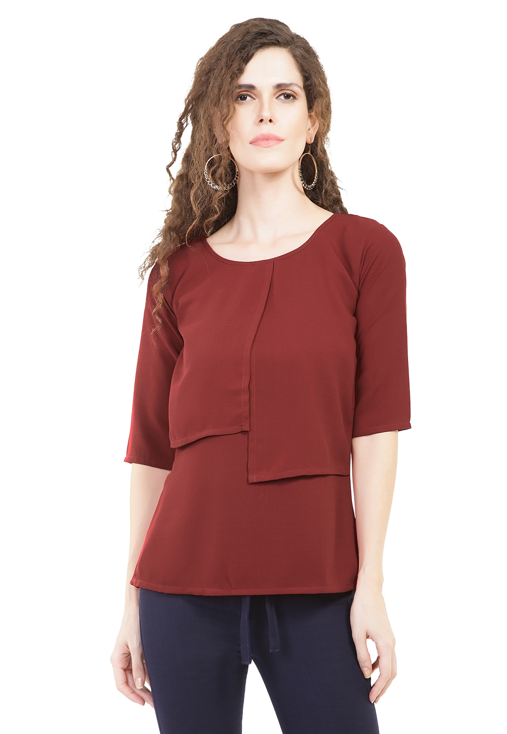 Maroon Jute Readymade Casual Top 188746
