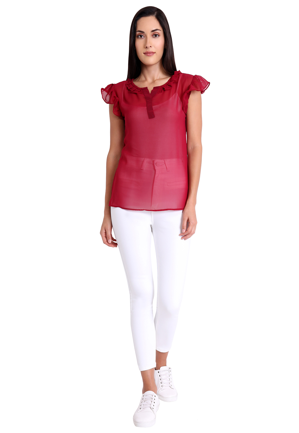 Maroon Faux Georgette Readymade Casual Top 188748