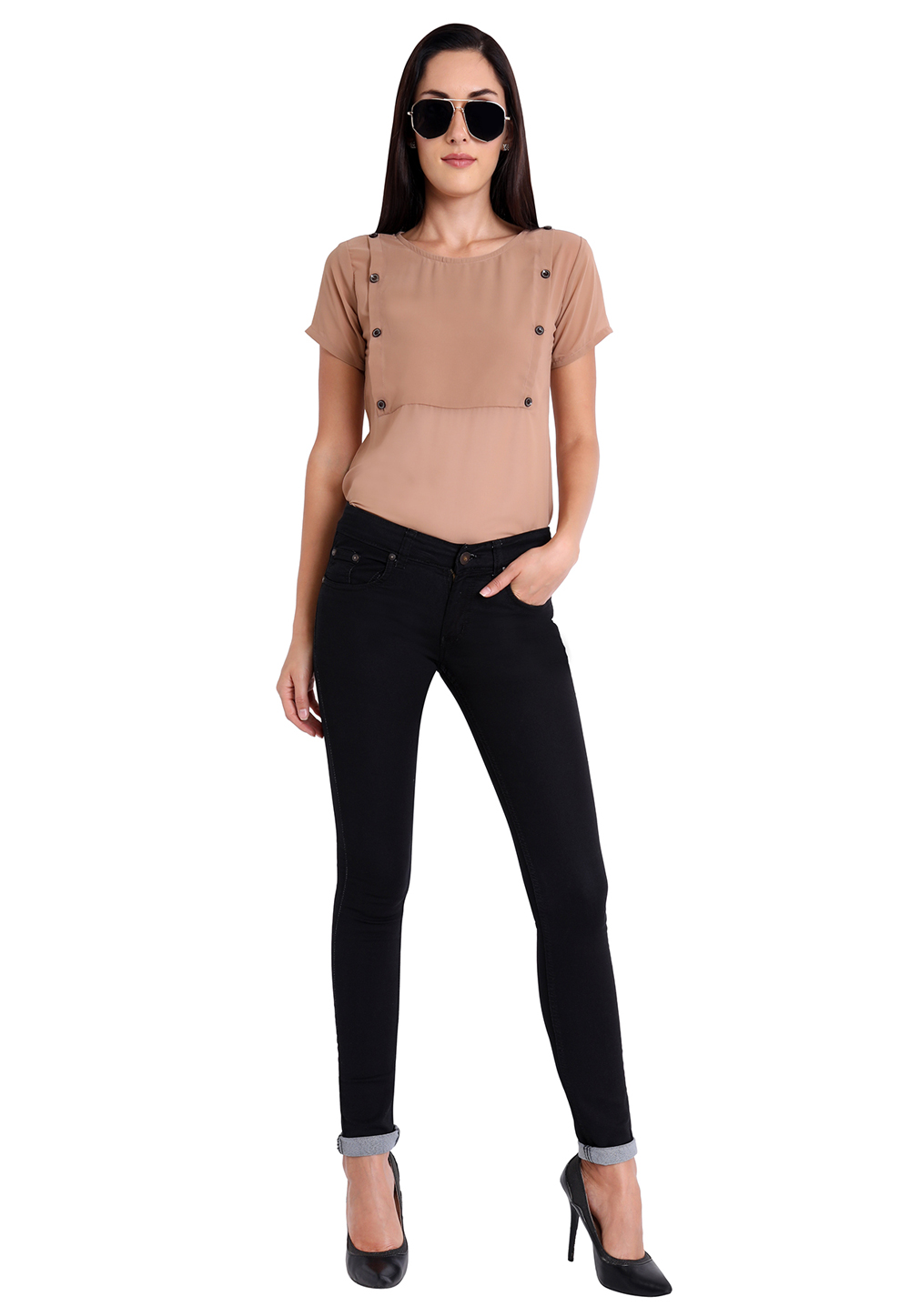 Light Brown Faux Georgette Readymade Casual Top 188749