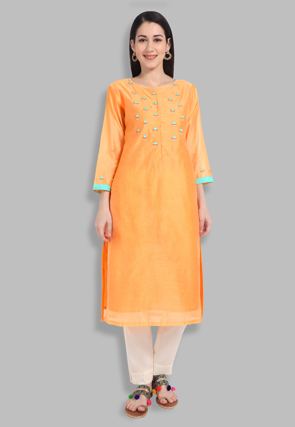 Chanderi Silk Handwork Kurti In Orange 201428