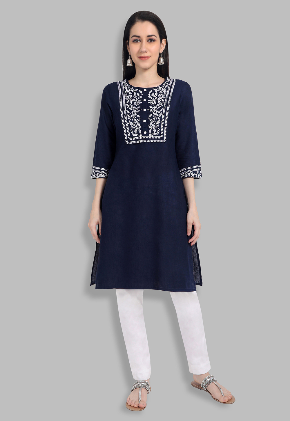 Blue Cotton Straight Kurti for Women