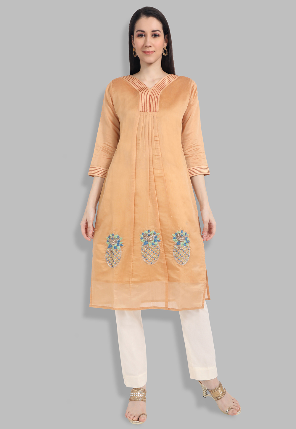 Chanderi Silk Handwork Kurti In Orange 201438
