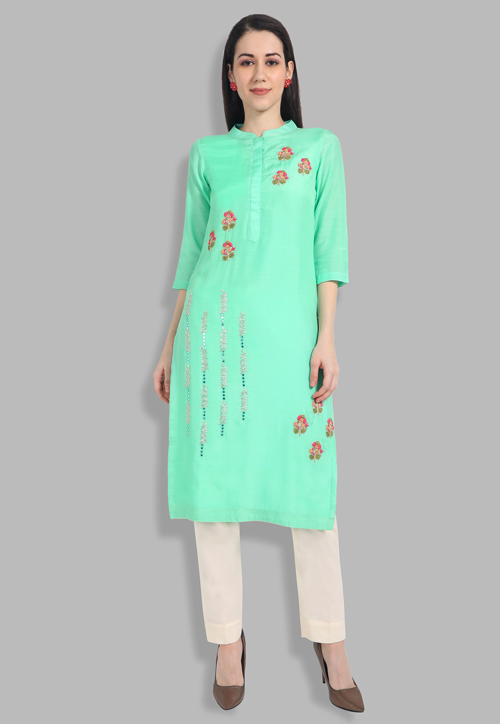 Sea Green Muslin Handwork Kurti 201439