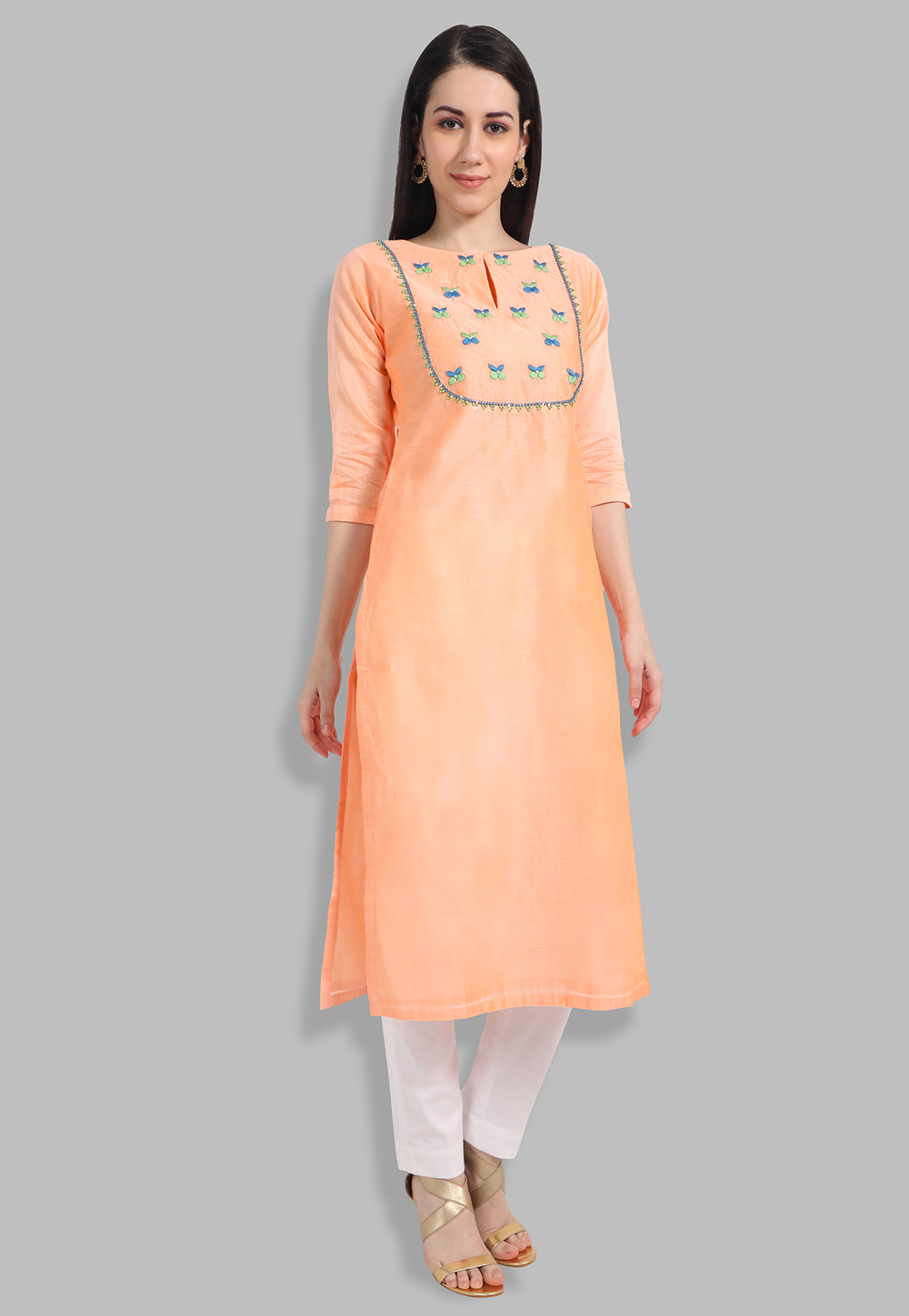 Peach Chanderi Silk Handwork Kurti 201441