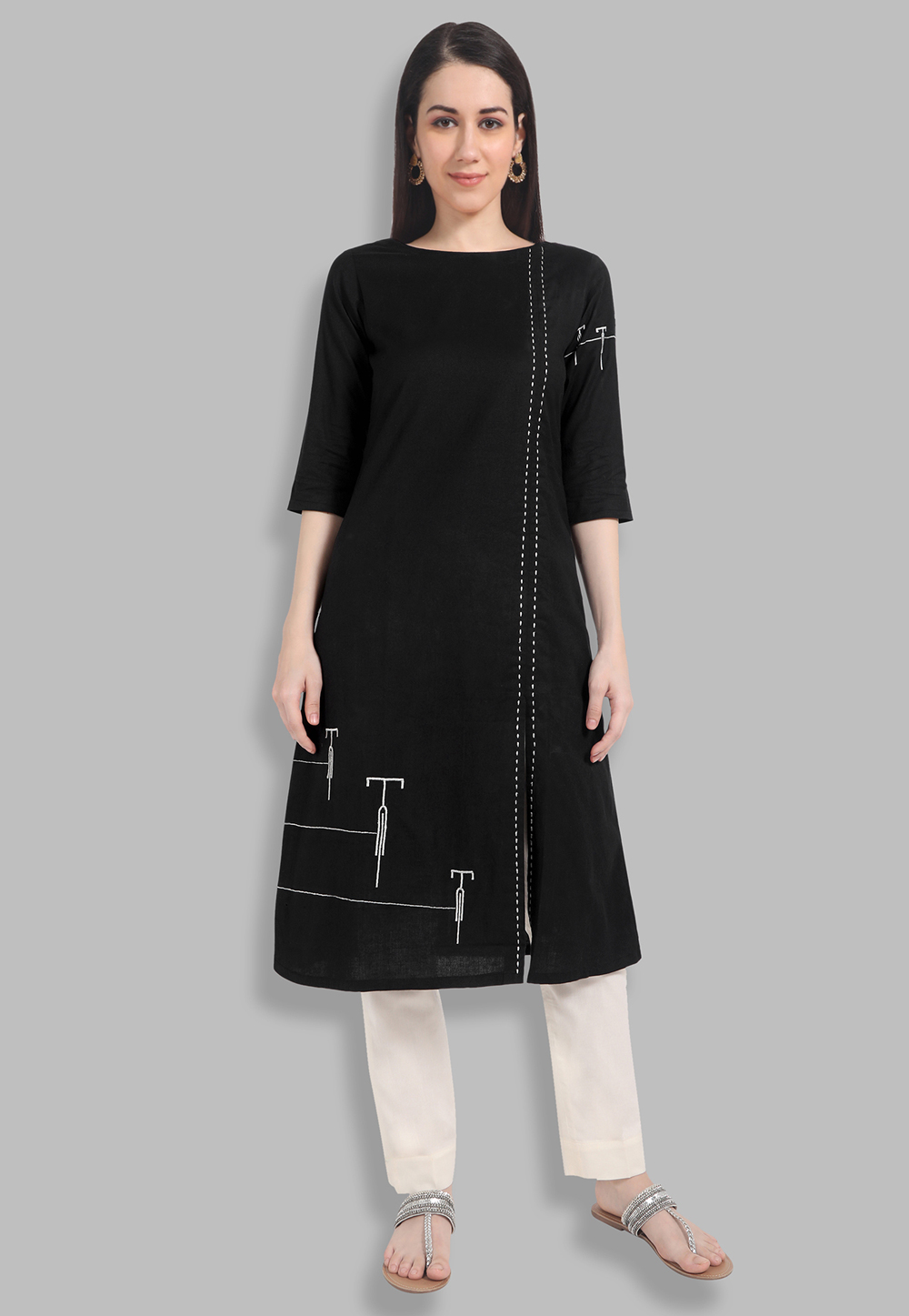 Black Long A Line Kurti for Women