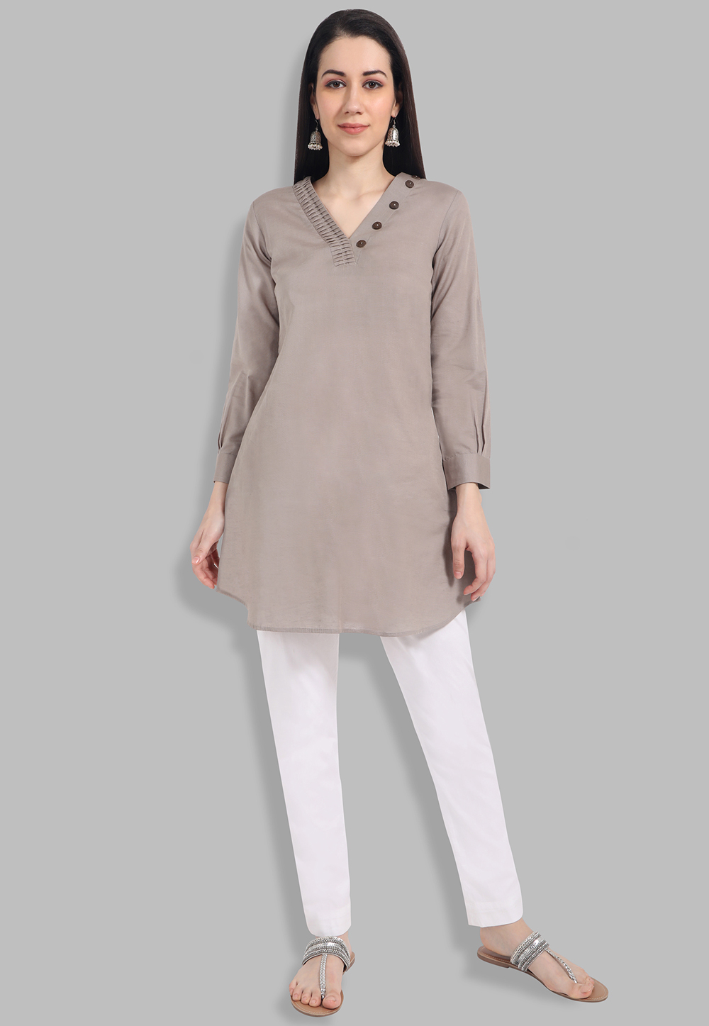 Grey Short Kurti for Women