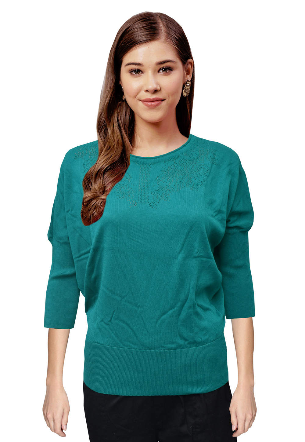 Teal Woolen Knitted Tops 214238