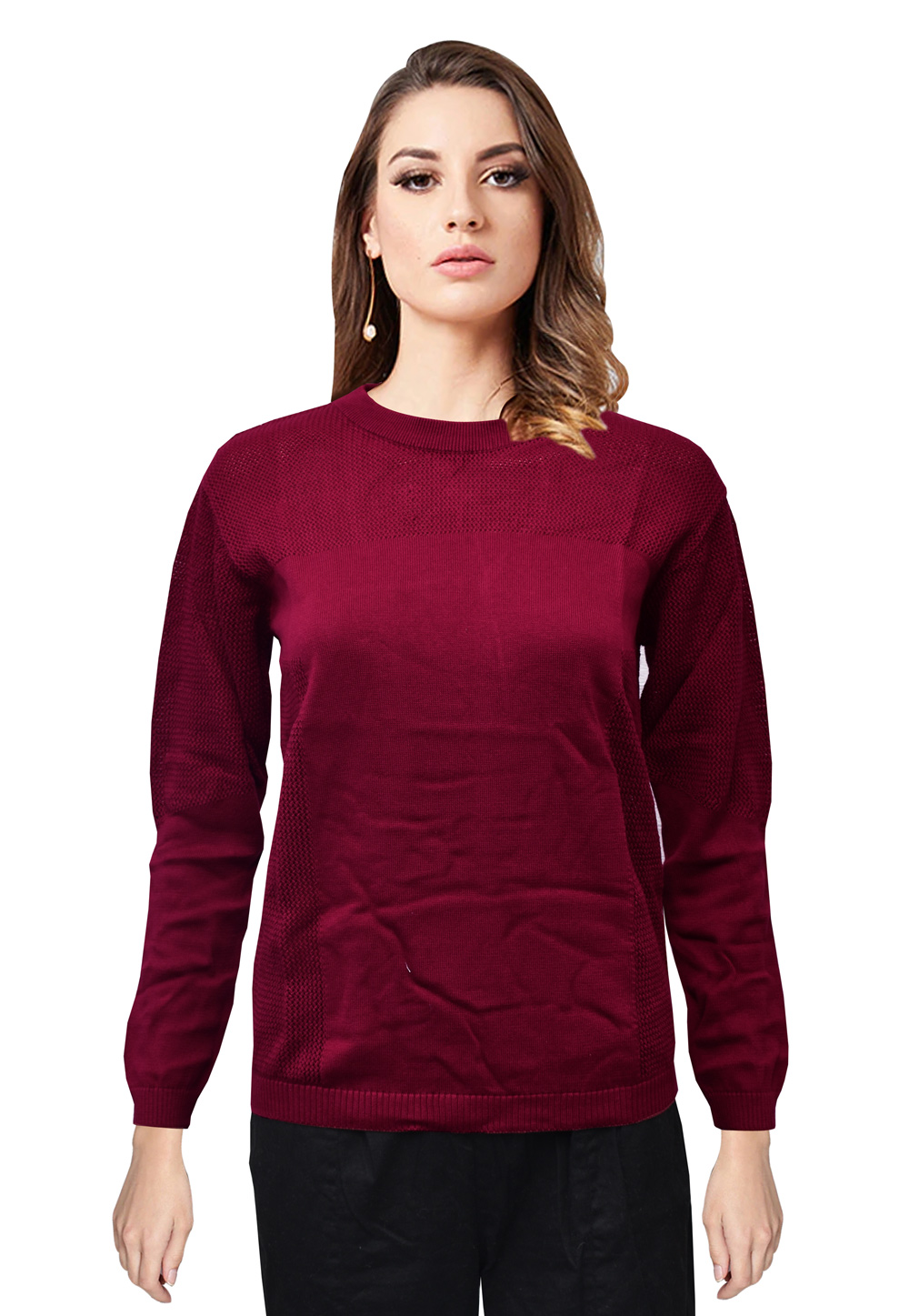 Wine Knitted Sweater Tops 214239