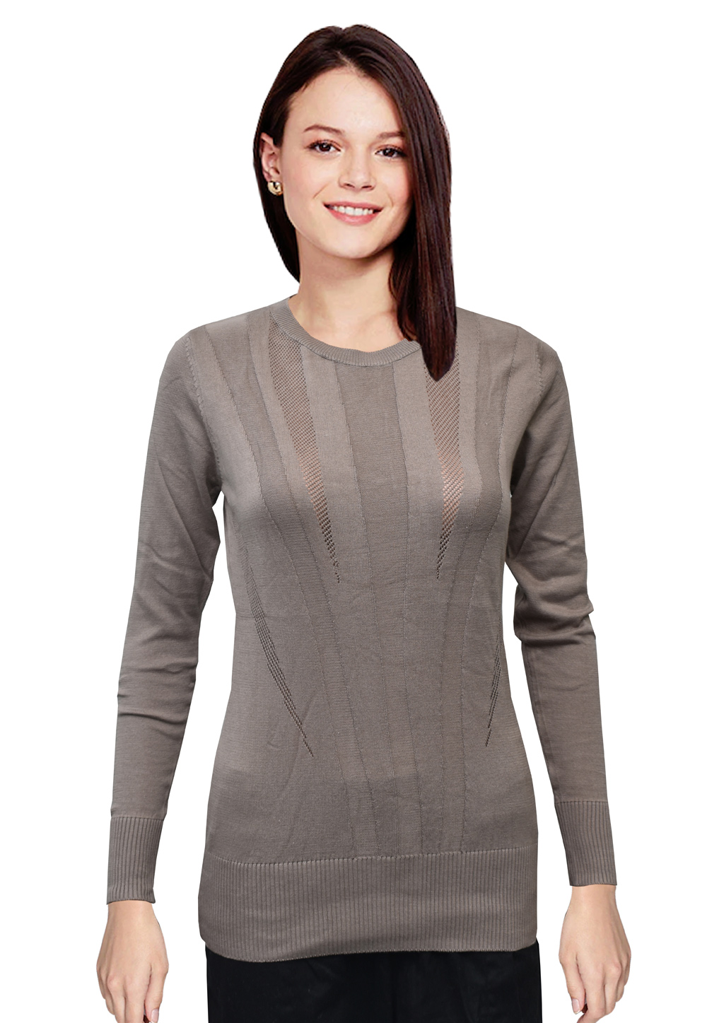 Grey Woolen Knitted Sweater Tops 214243