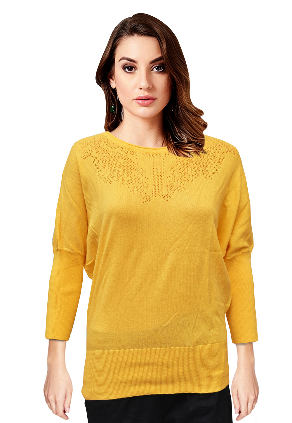 Yellow Woolen Knitted Tops 214244