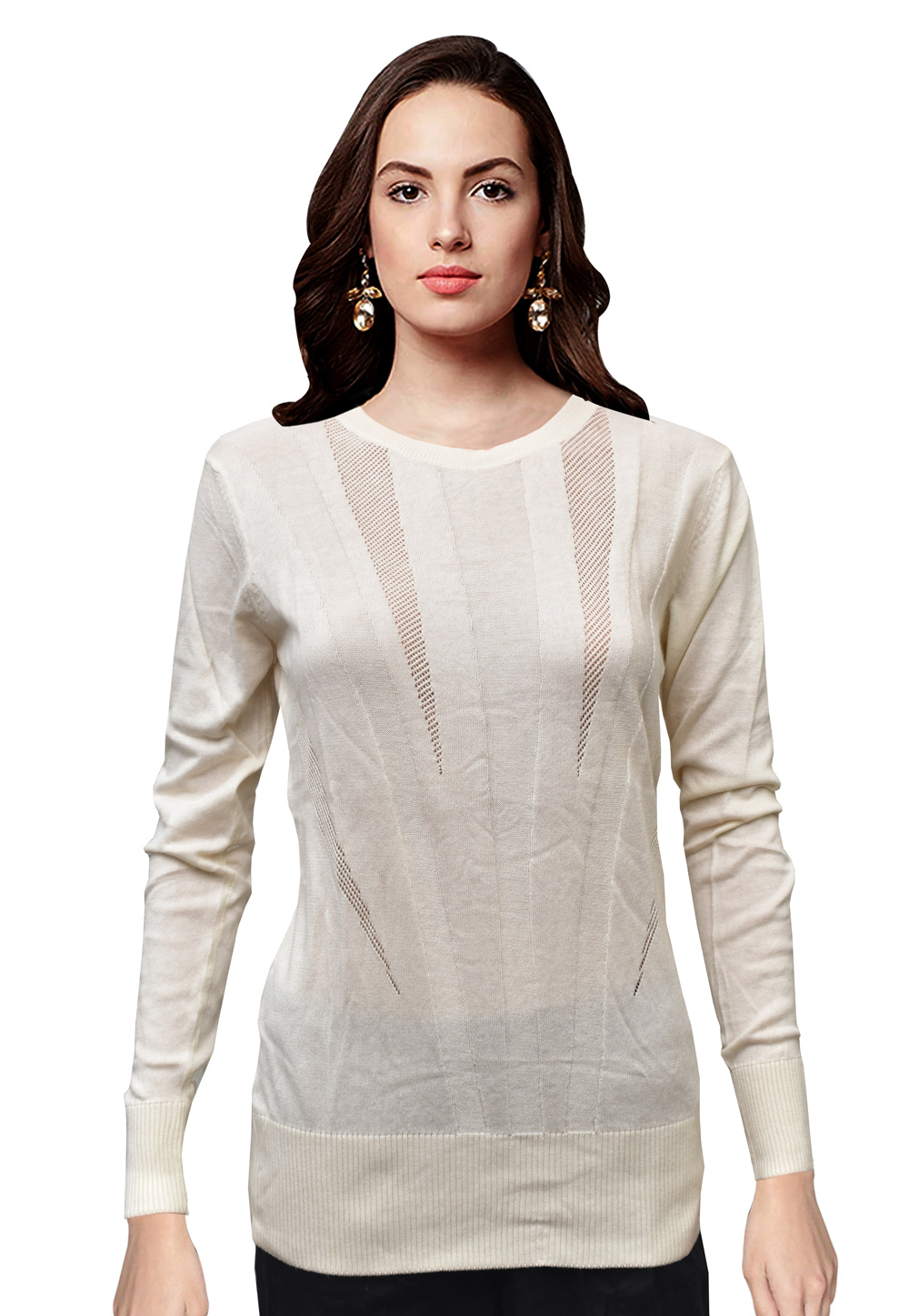 Off White Knitted Sweater Tops 214245