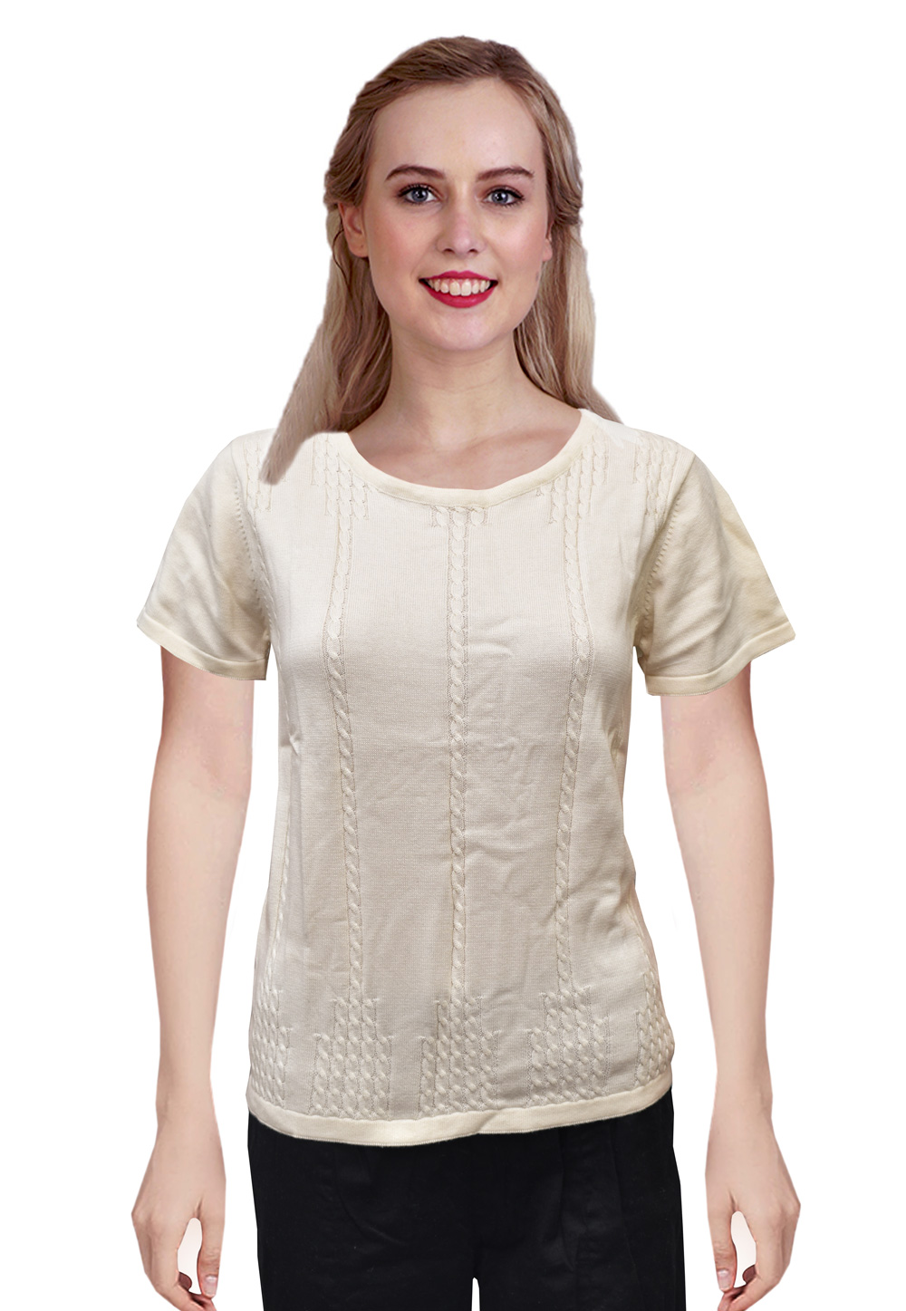 Off White Woolen Knitted Sweater Tops 214246