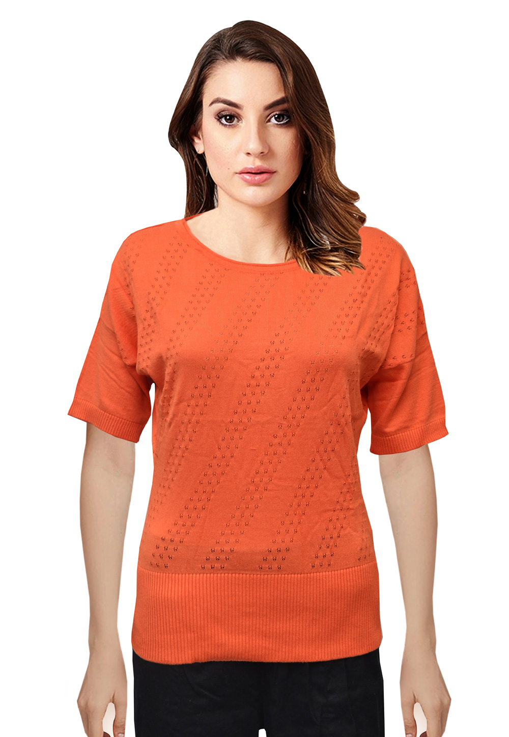 Orange Knitted Sweater Tops 214248
