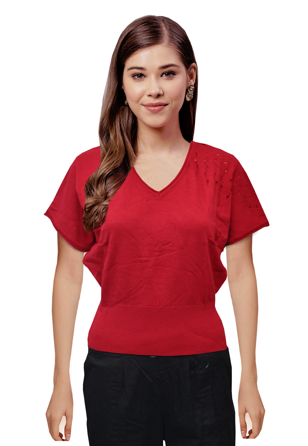Red Woolen Knitted Tops 214250