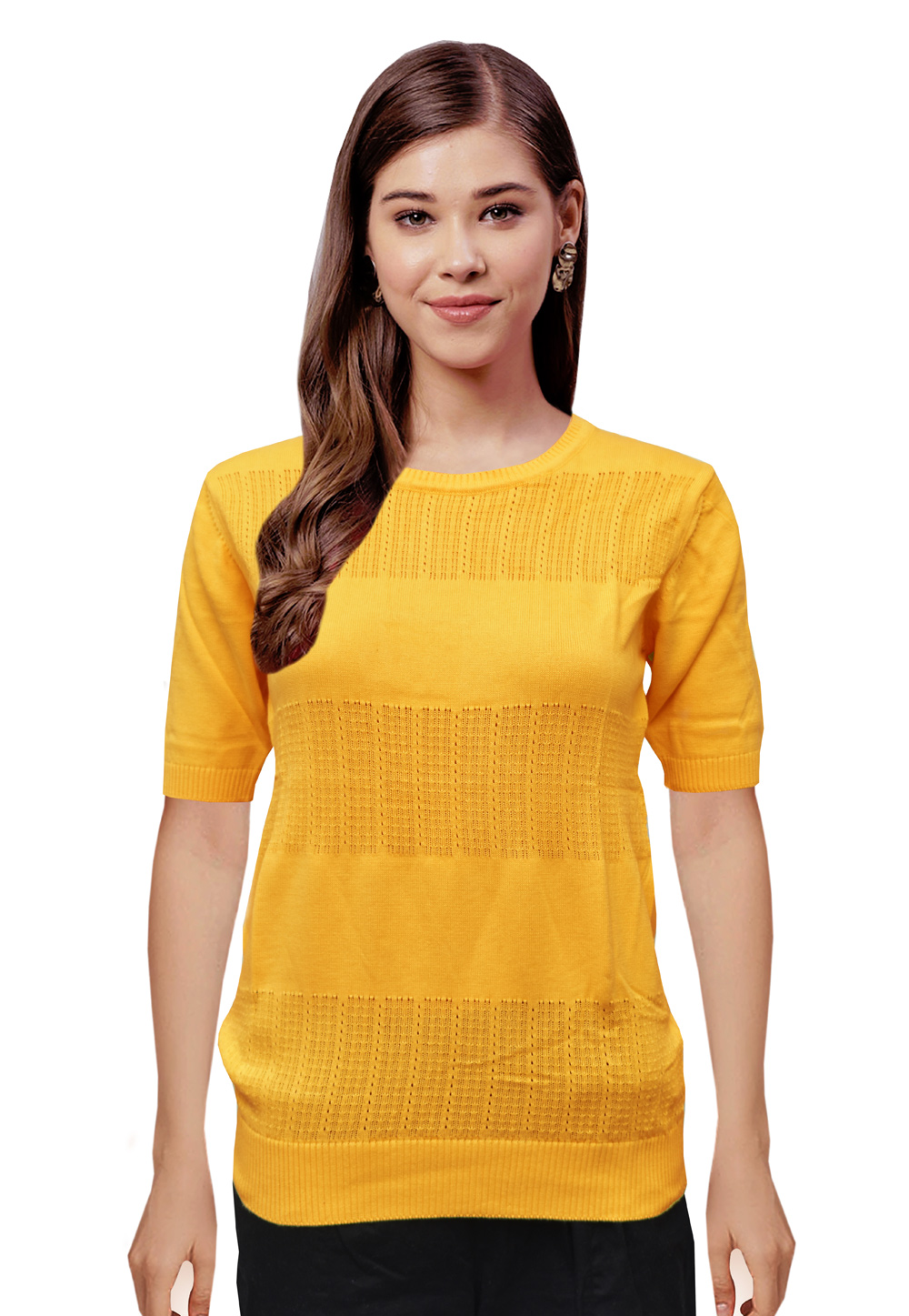 Yellow Knitted Sweater Tops 214254